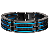 SNOWPLOW BRACELET Blue and Black Steel Link Bracelet with Cable Inlays