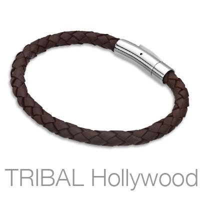 BROWN BOMB Braided Mens Leather Bracelet