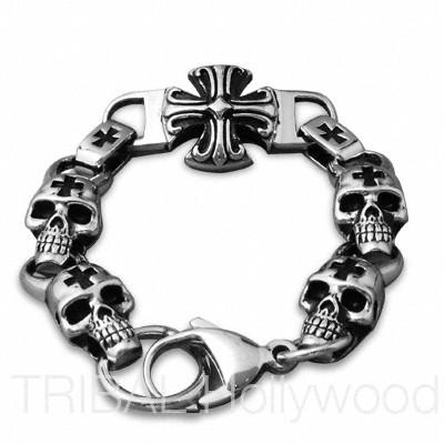 KAMIKAZE Stainless Steel Biker Iron Cross Men's Skull Bracelet