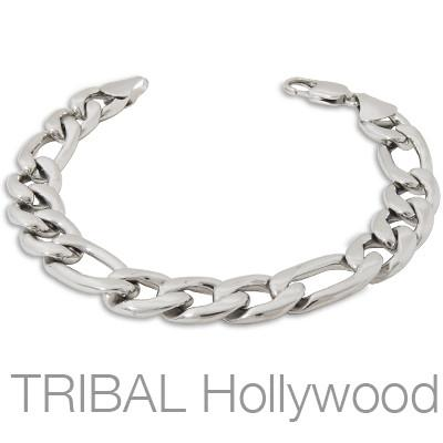 CLUBMAN Mens Figaro Bracelet Medium Link in Stainless Steel