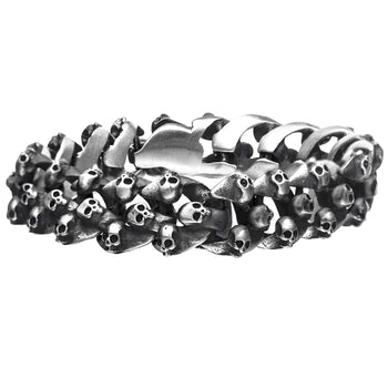 GRAVEYARD BRACELET Skulls Curb Link Steel Bracelet for Men