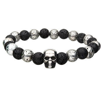 THE CRYPT Steel and Black Volcanic Lava Bead Mens Bracelet with Skull