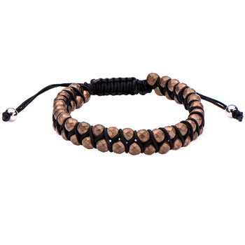 GRAVEL BROWN HEMATITE Adjustable Black Paracord Bracelet for Men