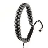 GRAVEL GRAY HEMATITE Adjustable Black Paracord Bracelet for Men