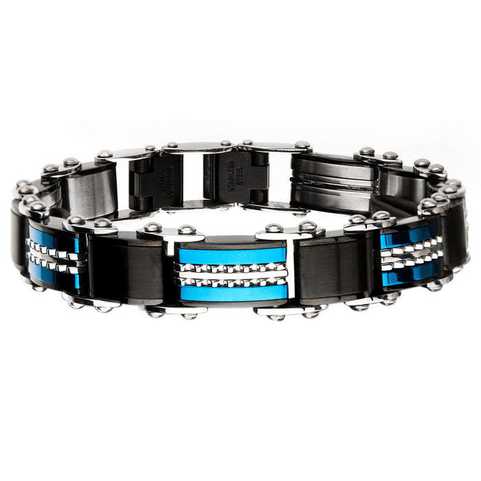 DOUBLE TAKE Blue and Black Steel Two-Sided Bracelet for Men