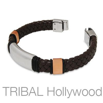 ELEMENTAL Brown Leather Bracelet in Stainless Steel and Rose Gold PVD