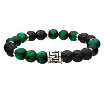THE FOREST Green Tiger Eye and Black Lava Bead Bracelet for Men