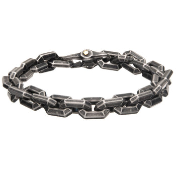 SQUARE OFF Antique Gunmetal Steel Hexagon Link Bracelet for Men