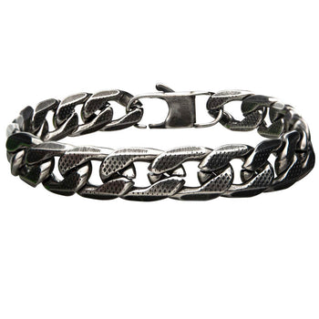 OLD HOLLYWOOD Diamond Cut Steel Mens Bracelet in Antique Gunmetal