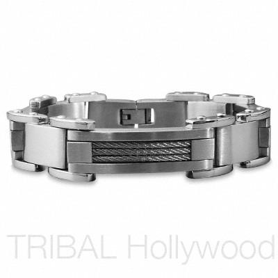 CABLE CAR Stainless Steel Braided Coil Men's Bracelet