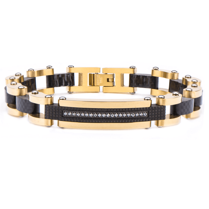 GOLD STANDARD Mens Bracelet in Gold Steel with Black Carbon Fiber