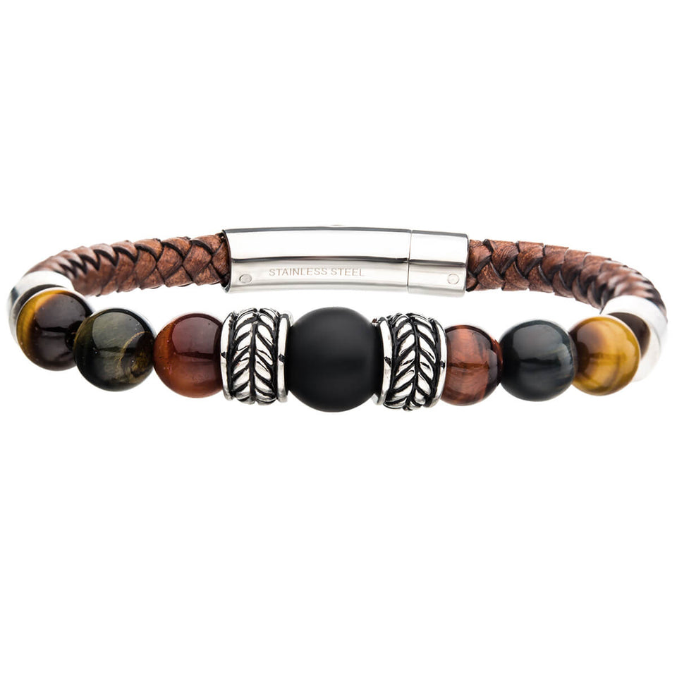 COLLECTIVE Bead and Brown Leather Mens Bracelet with Stainless Steel