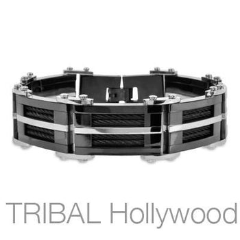 DARK DESTROYER Black Metal Stainless Steel Bracelet with Inlaid Coiled Black Cables