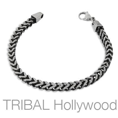 Mens Steel Bracelet MAVERICK BRACELET Thick Width Square Franco Link | Tribal Hollywood