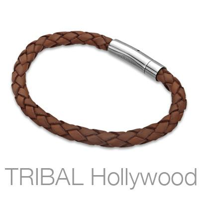 HAVANA Brown Braided Mens Leather Bracelet