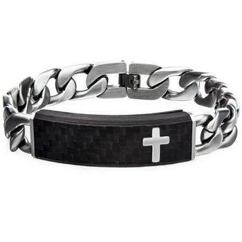 CRUCIATUS Steel Curb Link Carbon Fiber ID Mens Bracelet with Cross