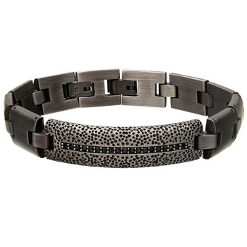 THE MONUMENT Antique Gunmetal Steel Mens Bracelet with CZ Stones