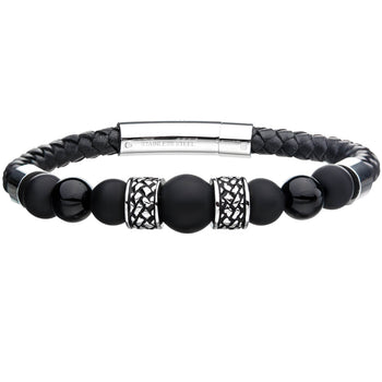 THE DIVIDE Black Onyx and Leather Mens Bracelet with Stainless Steel
