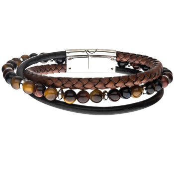 DESERT SAND Tigers Eye Bead Bracelet with Brown and Black Leather