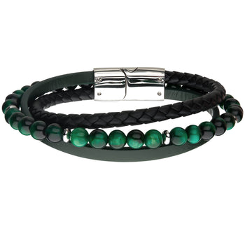 THE JUNGLE Green Tiger Eye Bead Bracelet with Green and Black Leather