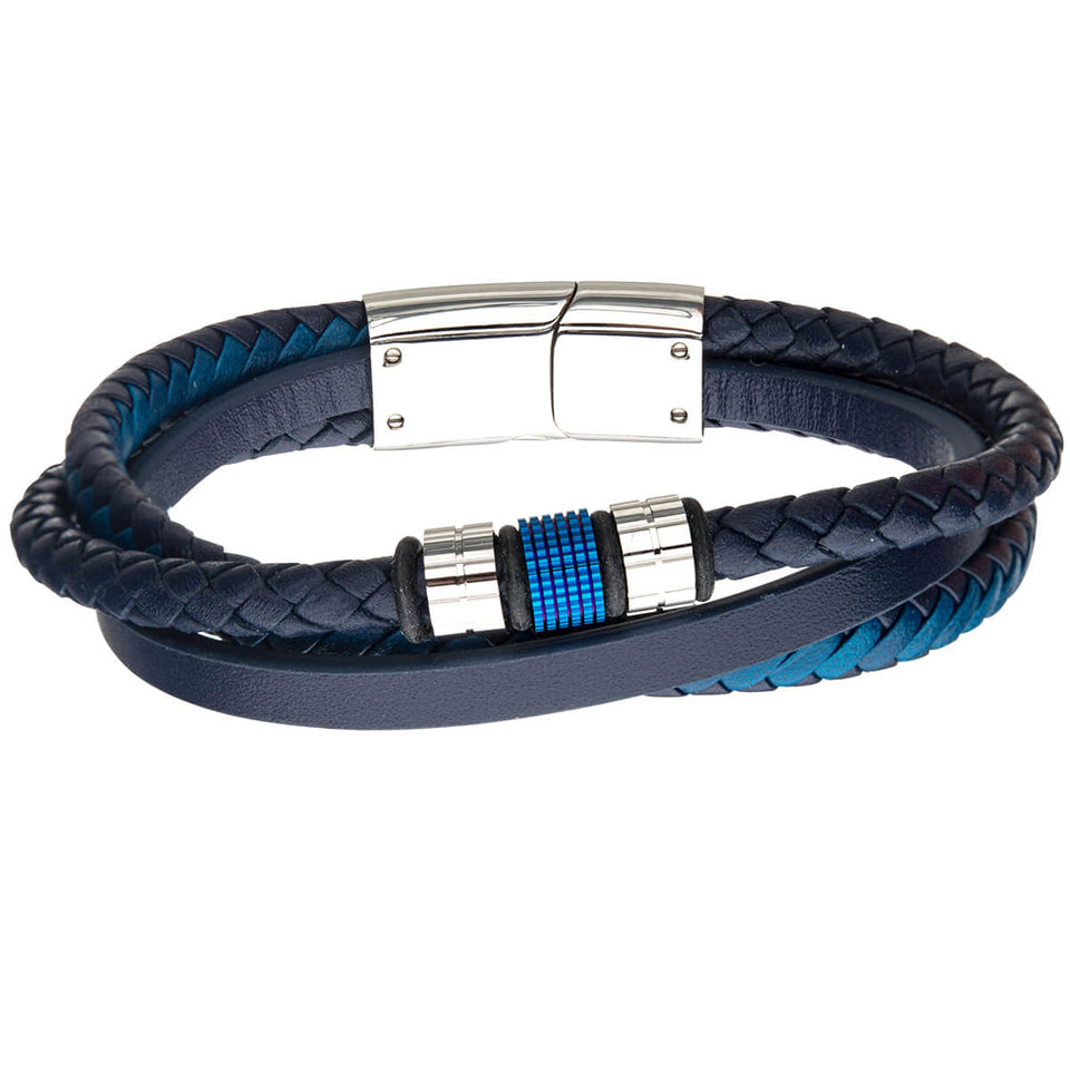 AQUEDUCT Blue and Black Leather Mens Bracelet with Blue Steel