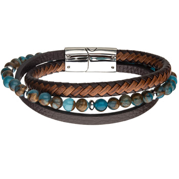 WINDSTORM Chrysocolla Beaded Mens Bracelet with Brown Leather