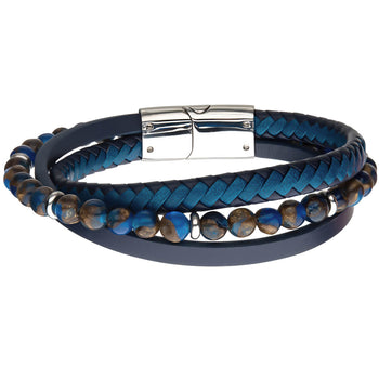 WATERFALL Dark Blue Beaded Mens Bracelet with Blue Leather