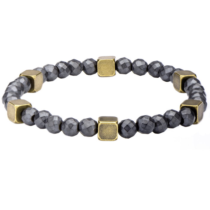 BRASS TACKS BRACELET Grey Stone Beaded Bracelet with Brass Cubes