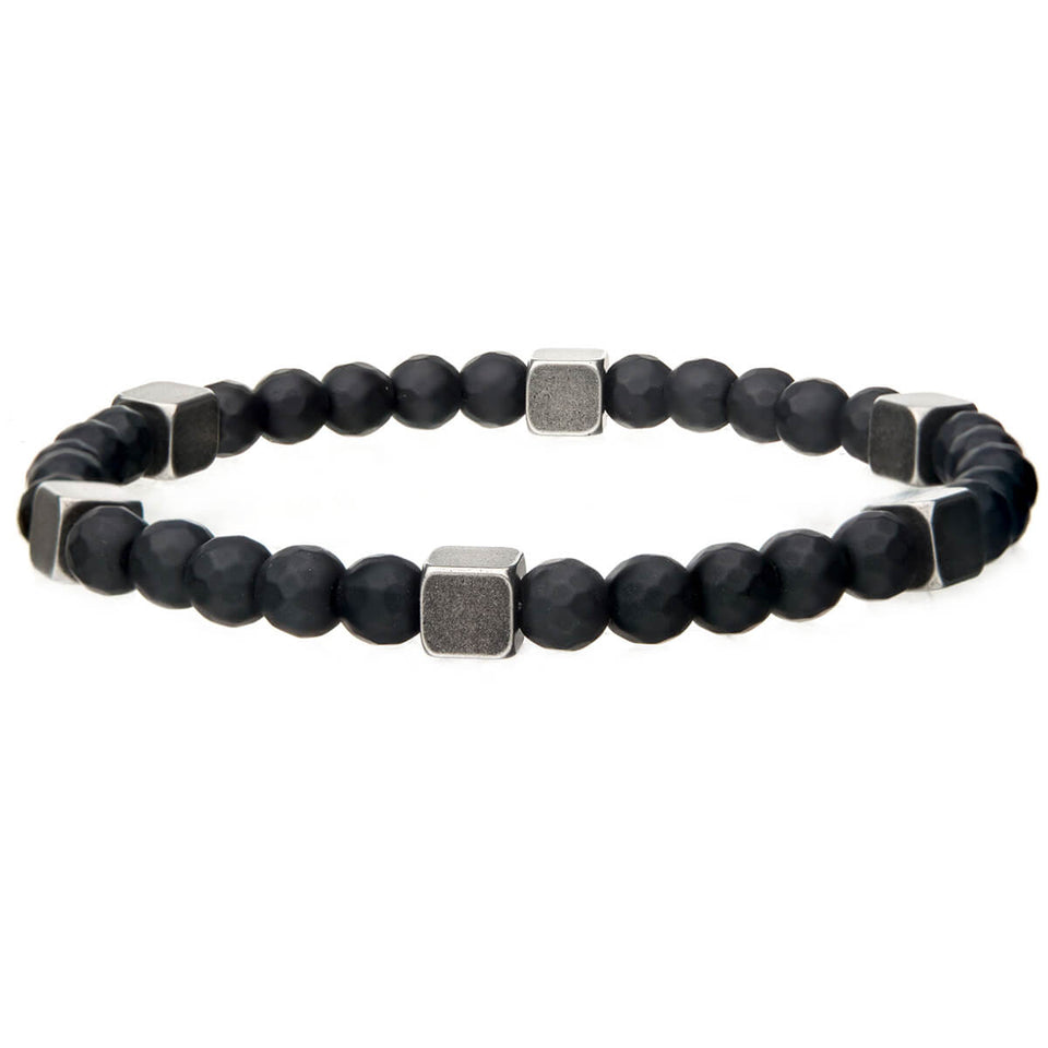 CUBEHEAD Black Hematite Bead Bracelet for Men Steel Brass Cubes