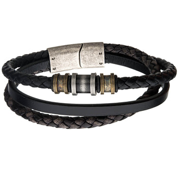 RELIC Aged Steel and Black Leather Multi-strand Mens Bracelet