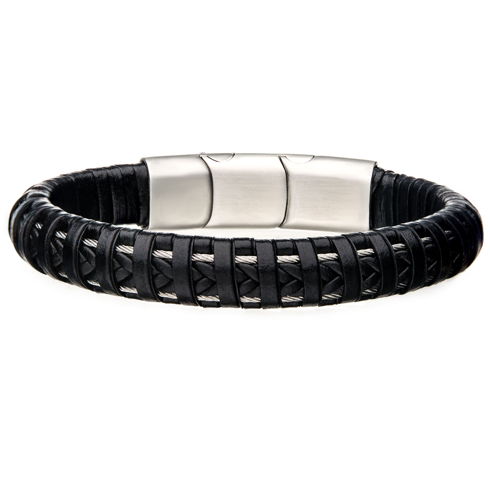 INTERWOVEN BRACELET Steel Infused Black Braided Leather Mens Bracelet