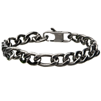 OLD DAYS Antique Gunmetal Steel Figaro Link Mens Bracelet