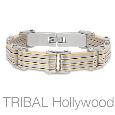 SUNBREAKER Stainless Steel and Gold PVD Layered Link Mens Bracelet