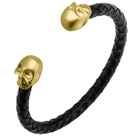 MORTUARY GOLD SKULL CUFF Bracelet for Men with Braided Black Leather