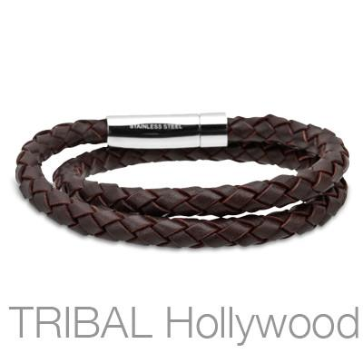 HULA HULA Brown Braided Double Wrap Mens Leather Bracelet