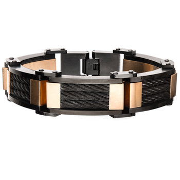 TRAINCAR BRACELET Rose Gold Steel Links with Black Steel Cable Inlays