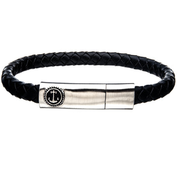AHOY BLACK Mens Anchor Bracelet with Steel and Black Leather