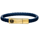 AHOY BLUE Mens Anchor Bracelet with Gold Steel and Blue Leather
