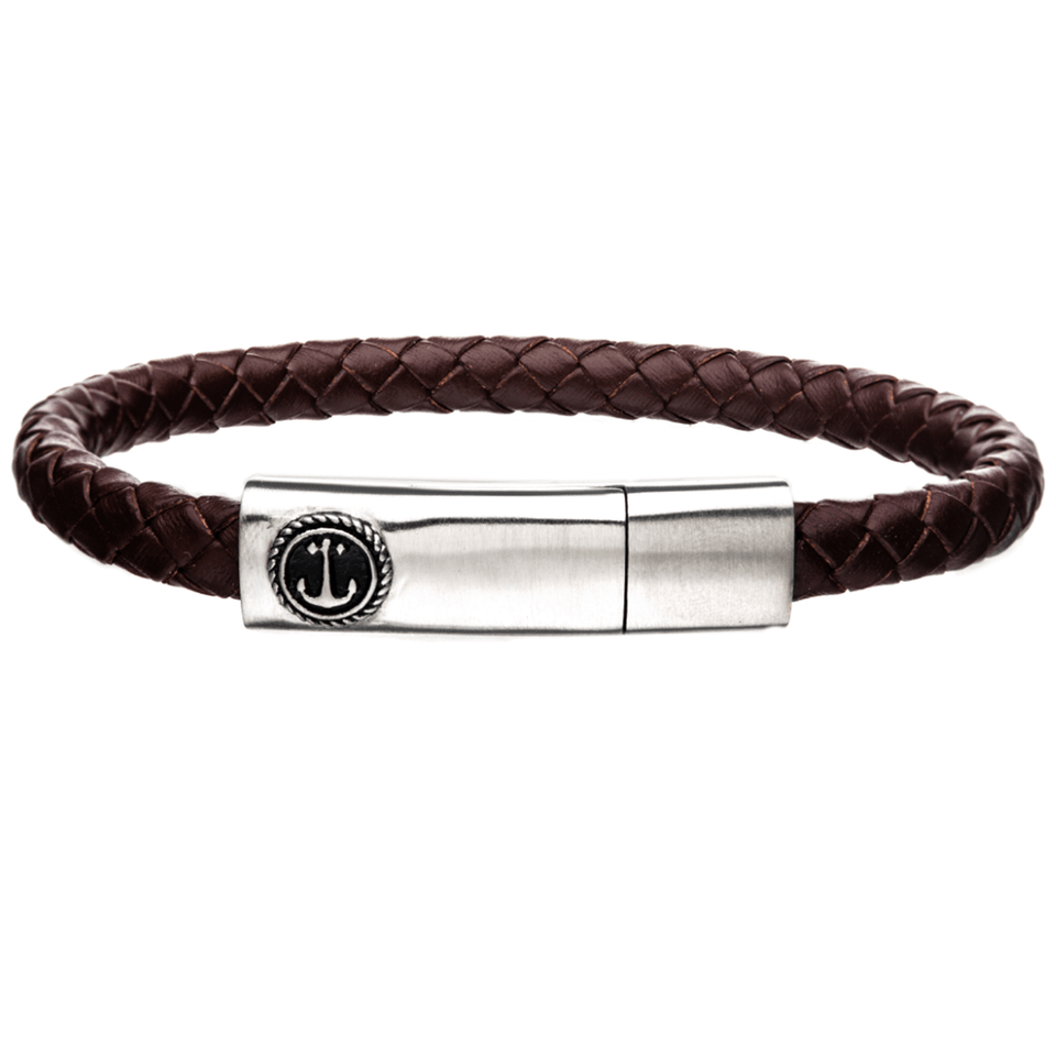 AHOY BROWN Mens Anchor Bracelet with Steel and Brown Leather