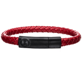 AHOY RED Mens Anchor Bracelet with Black Steel and Red Leather