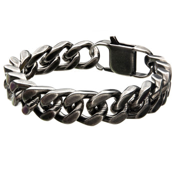 THE OLD STORY Heavy Duty Curb Link Mens Bracelet in Antique Gunmetal
