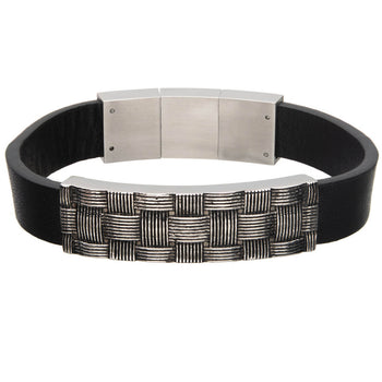 BASKETWEAVE Black Leather and Steel Mens Bracelet