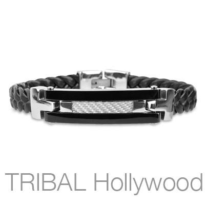 KYOTO Black Braided Leather Bracelet with Stainless Steel ID Tag and Silver Carbon Fiber