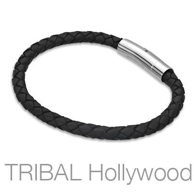 BLACK BOMB Braided Mens Leather Bracelet