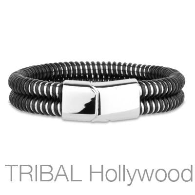 SPRINGBOK Coiled Black Rubber Over Stainless Steel Mens Bracelet