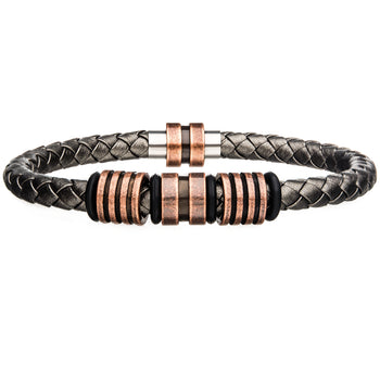 ORANGE SLICER Grey Braided Leather Bracelet with Copper Steel Beads