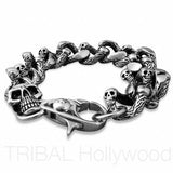 Men's Large Skull Bracelet-Devil's Tail