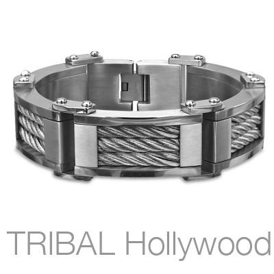 BLITZKRIEG Heavy Duty Stainless Steel Inlaid Cable Mens Bracelet