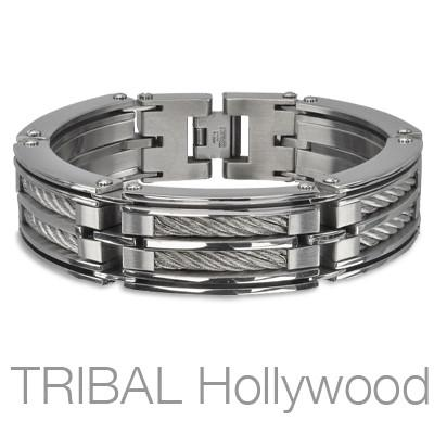 LOCOMOTIVE BRACELET Heavy Duty Mens Bracelet with Stainless Steel Cables