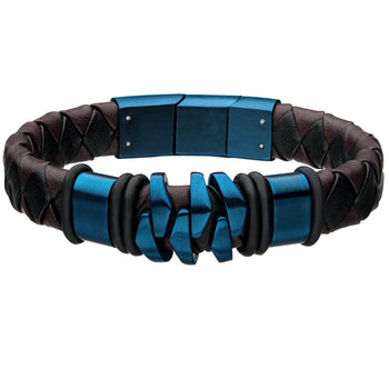 KILOWATT BLUE Modern Style Mens Bracelet in Steel and Leather